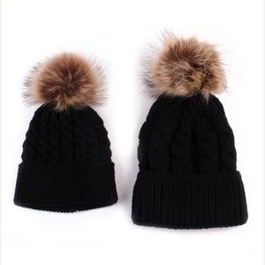 Other - NEW black color Mommy and me beanies hats